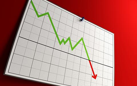 下降グラフの画像