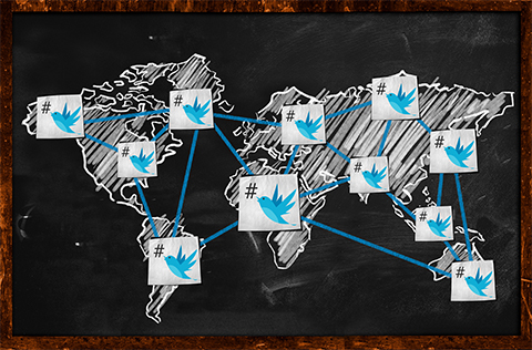 世界地図とtwitterアイコンの画像